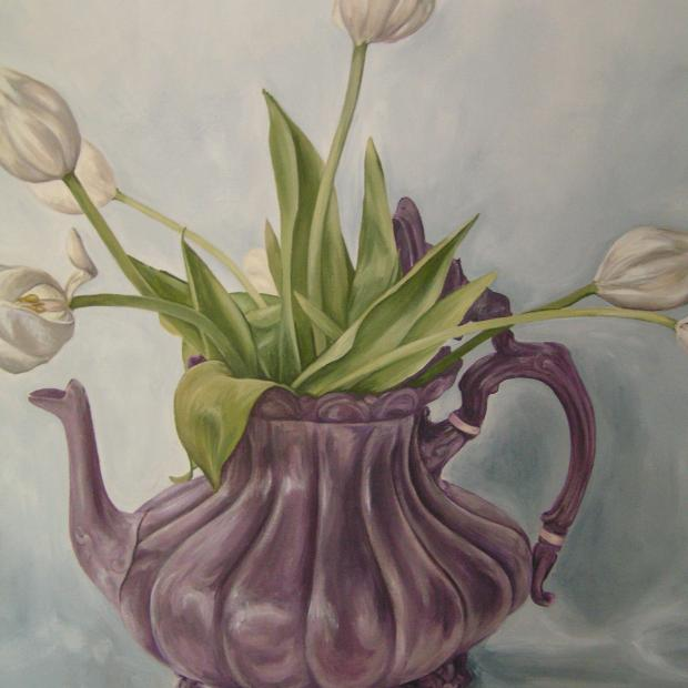 White Tulips in Teapot